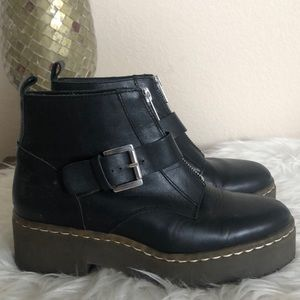 Topshop black rubber sole belted boot boots